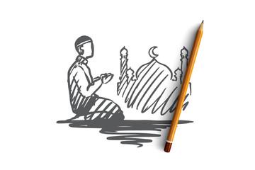 Man, prayer, religion, muslim, arabic, islam, mosque concept. Hand drawn isolated vector.