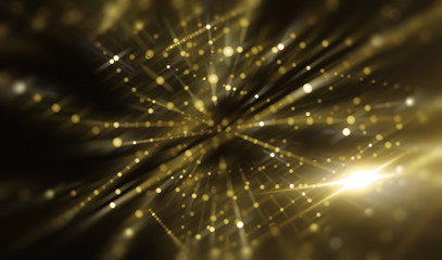 Lights Gold Abstract Background With Rays. Illustration Beautiful.
