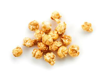 caramel popcorn on a white background