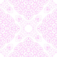 Pink seamless pattern. Amazing delicate soap bubbles. Lace hand drawn textile ornament. Kaleidoscope
