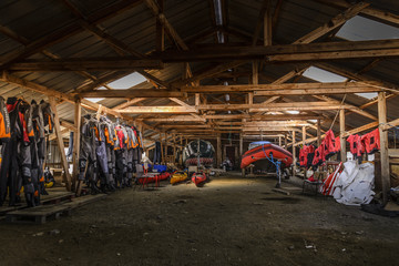 Warehouse of Tasermiut South Greenland Expedition with sea kayak gear, Narsaq, Greenland