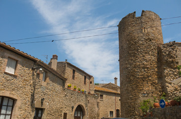 The tower of the medieval castle of Ullastret. Catalonia, Spain