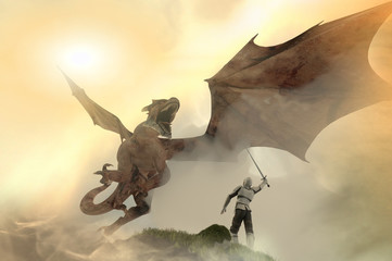 knight fighting dragon, dragon versus man, 3D render
