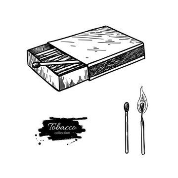 Matchbox vector drawing. Hand drawn matches box illustration. Bu