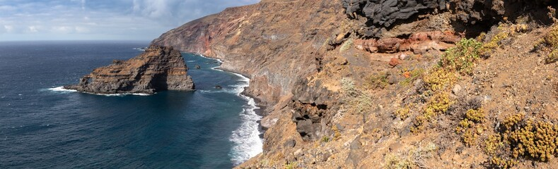 "Panoramic view of the wild beach ""Playa de Bujarén"". Adventures on the island of La Palma Canary Islands. Ultra High Resolution Panorama."