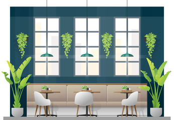 Interior scene of modern restaurant with tables and chairs for customer , vector , illustration