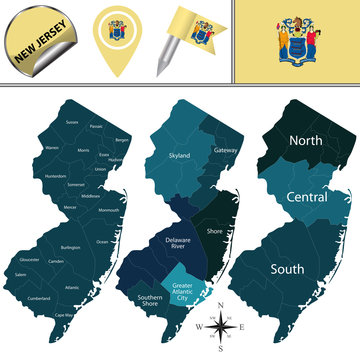 Map of New Jersey with Regions