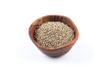 Cannabis Hemp seeds in bowl on white