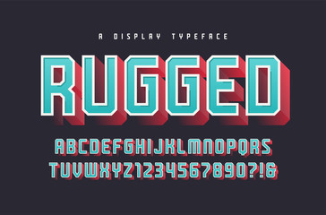 Rugged vector stylish 3d display typeface, font, uppercase lette