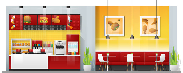 Interior scene of modern fast food restaurant with counter , tables and chairs , vector , illustration