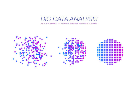 Vector Big Data Illustration, Technology Elements Isolated, Data Analysis Concept.