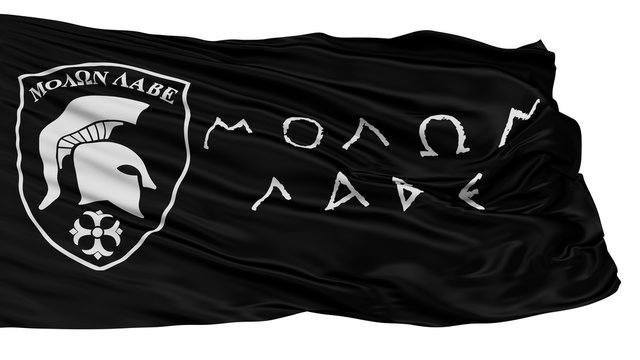 Molon Labe Isolated Flag With White Background, 3D Rendering