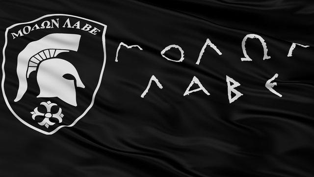 Molon Labe Closeup Flag, 3D Rendering