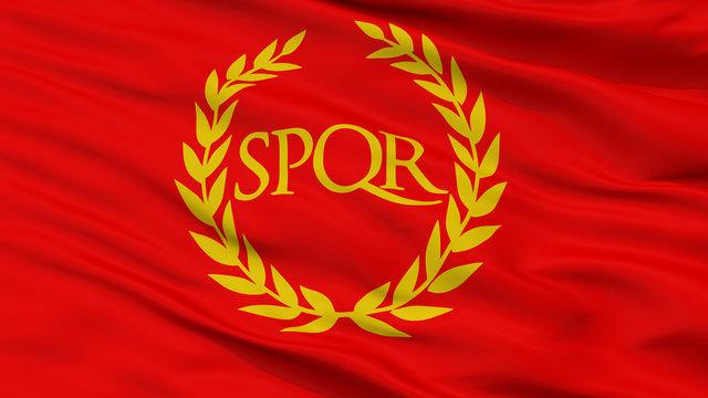Roman Empire Spqr Closeup Flag, 3D Rendering