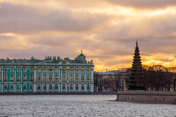 View of the Winter Palace in St. Petersburg on Christmas Eve