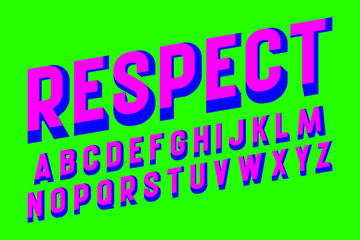 Respect alphabet. Pink blue letters font. Isolated english alphabet.