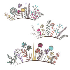 Wall Mural - Vintage floral horizontal border. Doodle meadow flowers, grass, herbs.