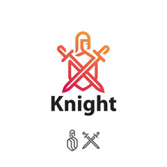 logo knight with swords and shield, line art