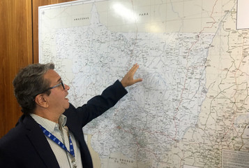 Savio Rafael Pereira, deputy secretary for agricultural policy, shows a map of Mato Grosso do Sul state after an interview with Reuters in Brasilia