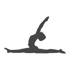 Silhouette of a gymnast woman, simple vector icon