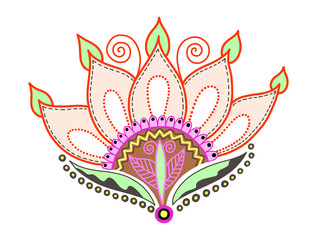 hand drawing of doodle lotus flower for trendy design