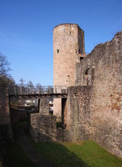 The moat of Useldange Castle in Luxembourg