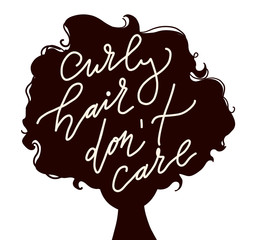 flat vector illustration of woman head silhouette  with lettering -curly hair don't care