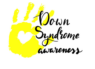 vector calligraphy card of down syndrome awareness. yellow hand print
