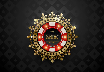 Vector red white casino poker chip with luminous light elements and golden crown wreath frame. Black silk geometric card suits background. Blackjack or online casino web banner, logo or icon.