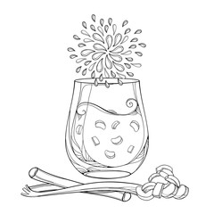 Vector outline transparency glass of Rhubarb or Rheum lemonade in black isolated on white background. Contour cut and whole stalk pieces of Rhubarb for fresh food design or coloring book.