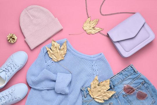 Autumn Fashion Lady Clothes Set, Leaf. Vintage