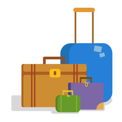suitcases flat vector illustration