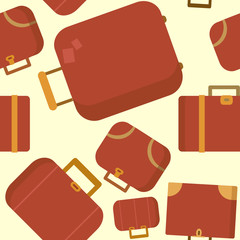Seamless pattern with red suitcases vector flat illustration