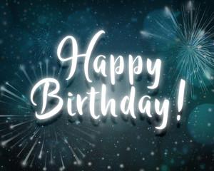 Happy birthday neon night light effect text party dark blue background with firework