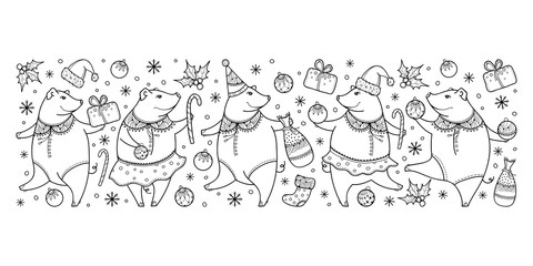 Vector horizontal border of outline black funny pig isolated on white background. Symbol of Chinese New Year 2019 in contour. Ornate pigs and winter decoration for holiday design or coloring book.