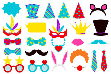 photo booth props for Party Birthday . Vector illustration