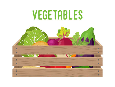 6133250 Vector box with vegetables, grocery basket with garden products