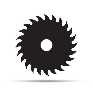 Saw blade icon on a white