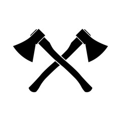 Axe icon, silhouette, logo on white background