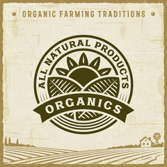 Vintage All Natural Products Organics Label. Editable EPS10 vector illustration with clipping mask and transparency in retro woodcut style.