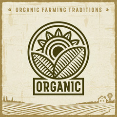 Vintage Organic Label. Editable EPS10 vector illustration with clipping mask and transparency in retro woodcut style.