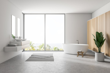 White large bathroom interior, tub and double sink