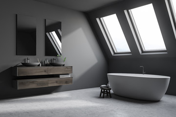 Attic luxury bathroom corner, gray close up