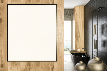 Vertical mock up poster in luxury bathroom