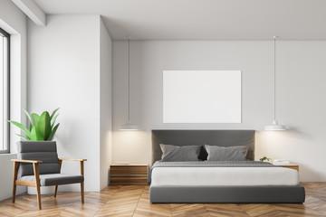 White Scandinavian style bedroom interior, poster