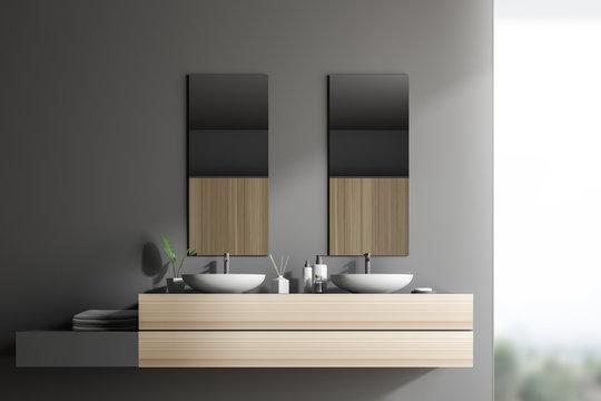 Double sink in gray loft bathroom interior
