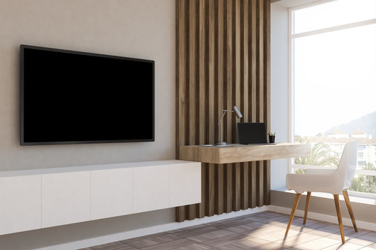 White and wood loft home office, black tv screen