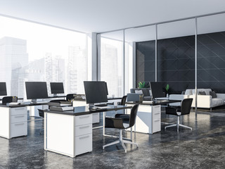 Open space black tile office interior, loft