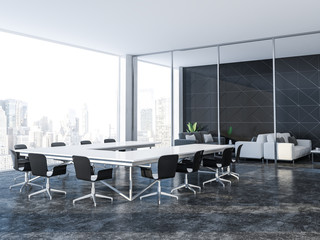 Black triangle tile conference room and lounge