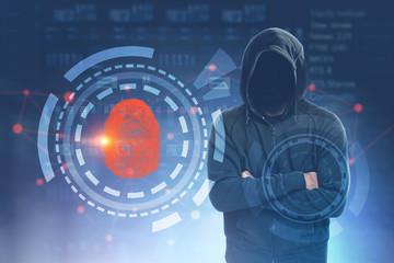 Anonymous hacker fingerprint id interface